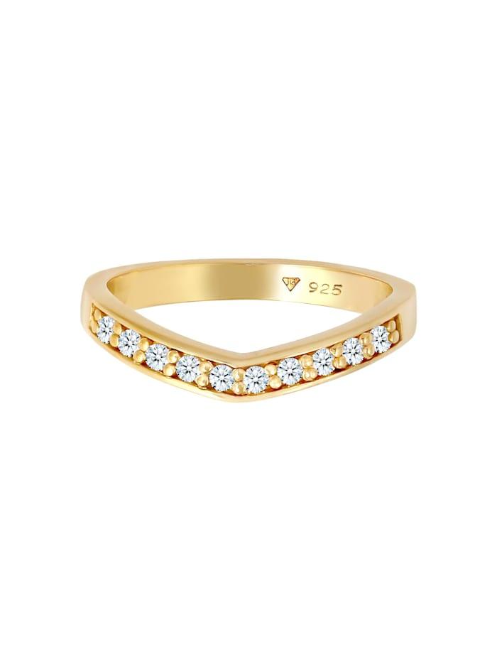 Ring Diamanten (0.15 Ct) V-Form Verlobung 925 Silber