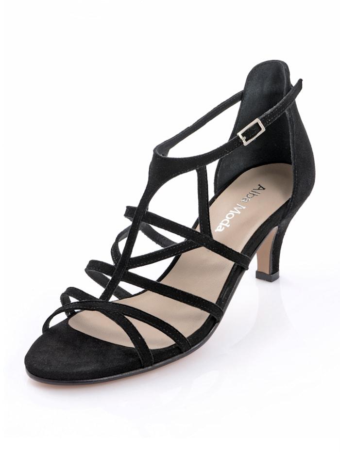 Alba Moda Sandaletter med smala remmar, Svart