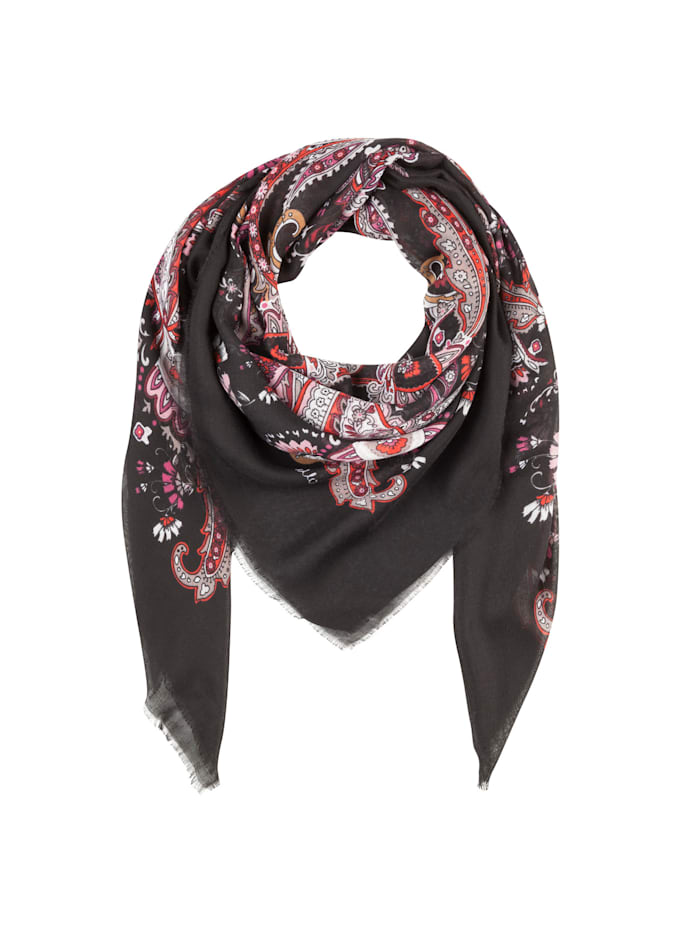 Codello Paisley-Tuch aus recyceltem Polyester, black