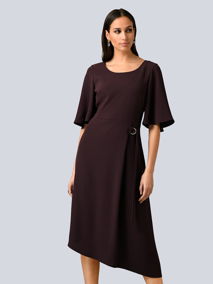 Alba Moda Kleid mit asymmetrischem Saum, Bordeaux