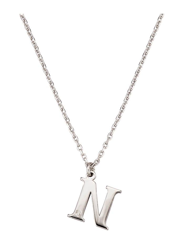 Collier Letter N met diamant, Zilverkleur