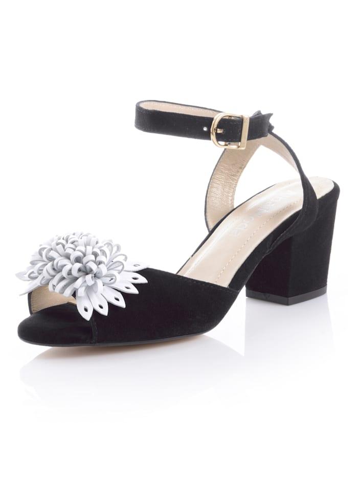 Alba Moda Sandalette aus weichem Ziegenveloursleder, Schwarz/Weiß