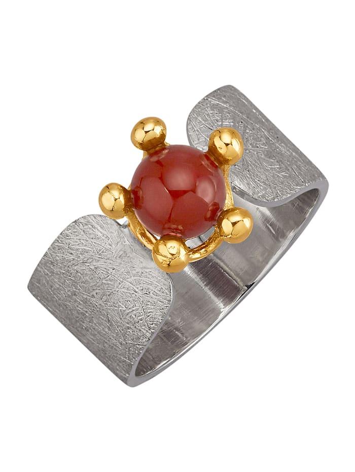 Amara Pierres colorées Bague avec perle de carnéole, Rouge