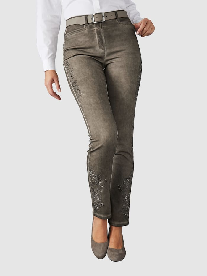Paola Hose in modischer oil dyed Waschung, Taupe