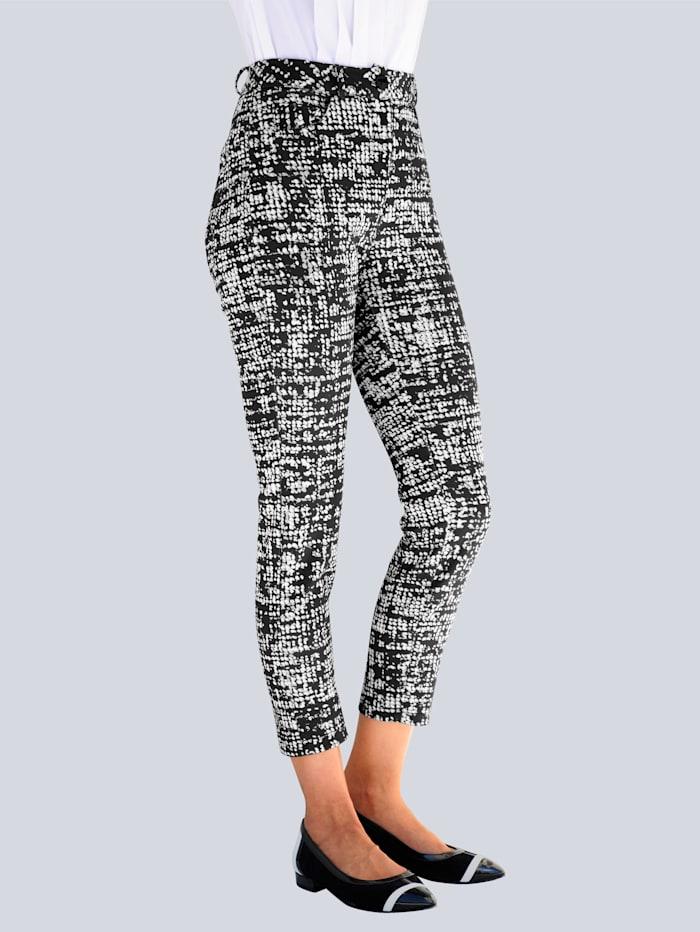Alba Moda Pantalon à imprimé exclusif Alba Moda, Noir/Blanc cassé