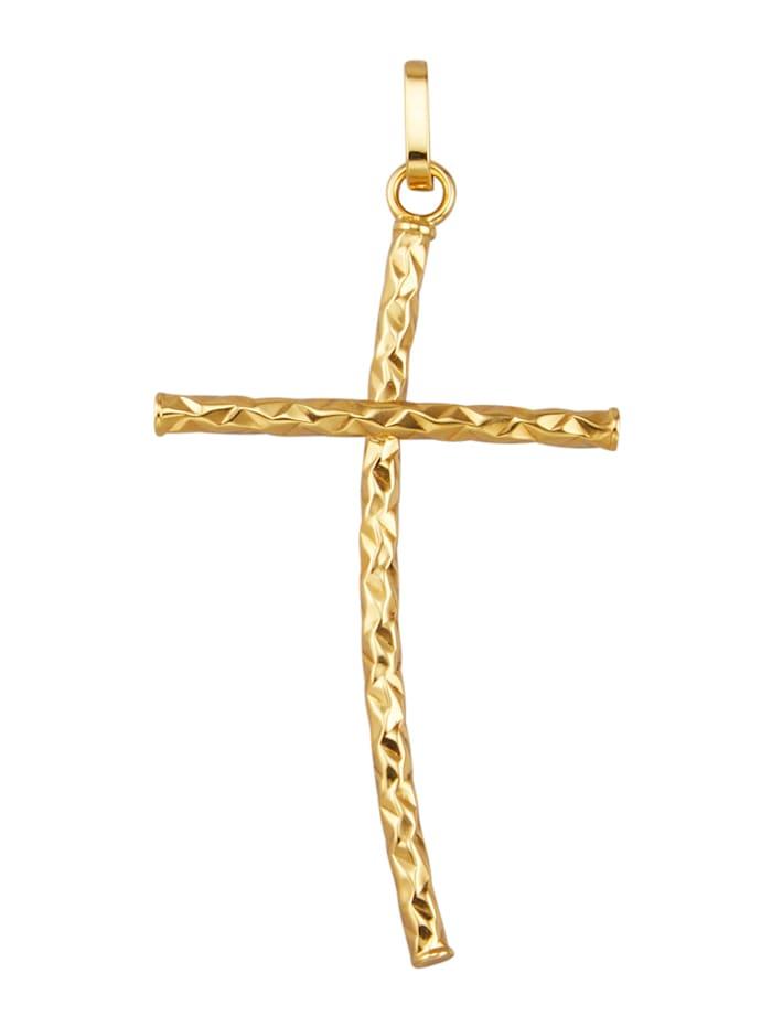 KLiNGEL Kreuz-Anhänger in Gelbgold 375, Gelbgoldfarben