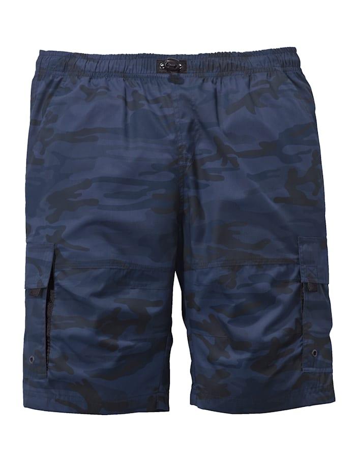 Men Plus Schlupfbermuda camouflage, Blau