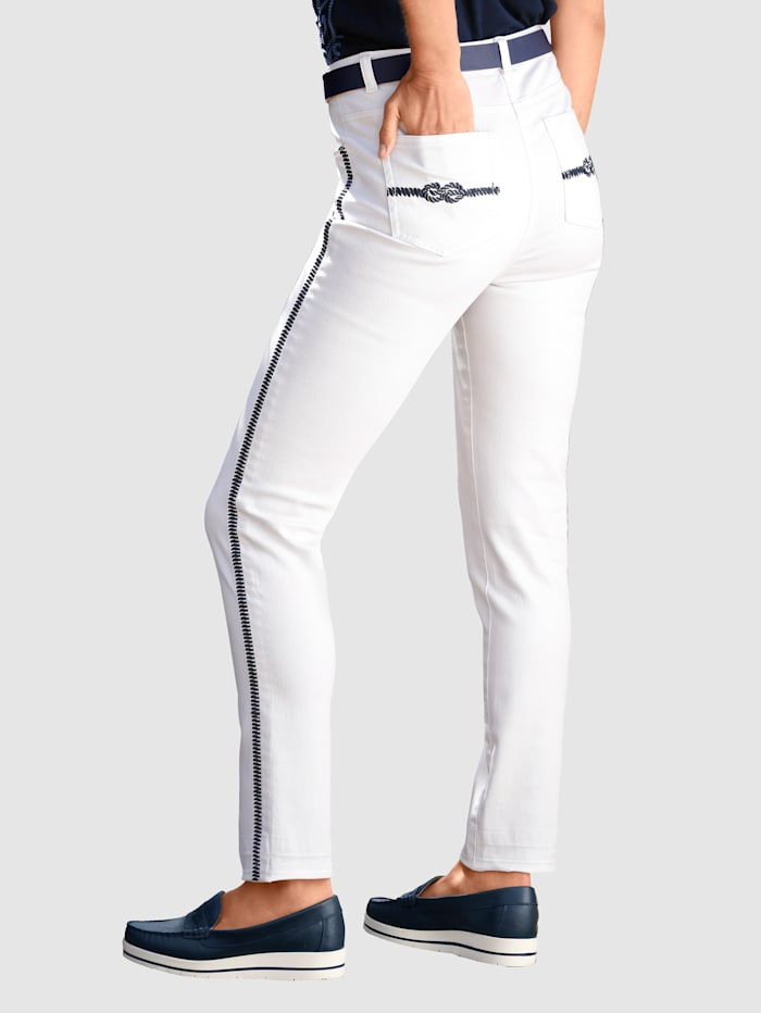 7/8-jeans Contrastborduursel