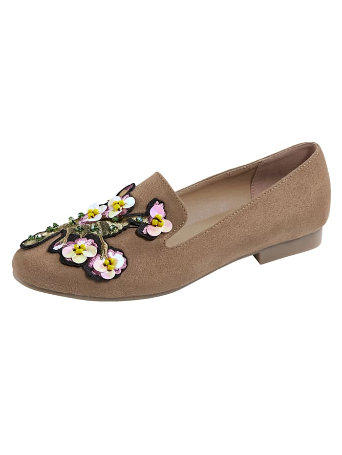 Liva Loop Slipper mit filigraner Applikation am Blatt, Taupe
