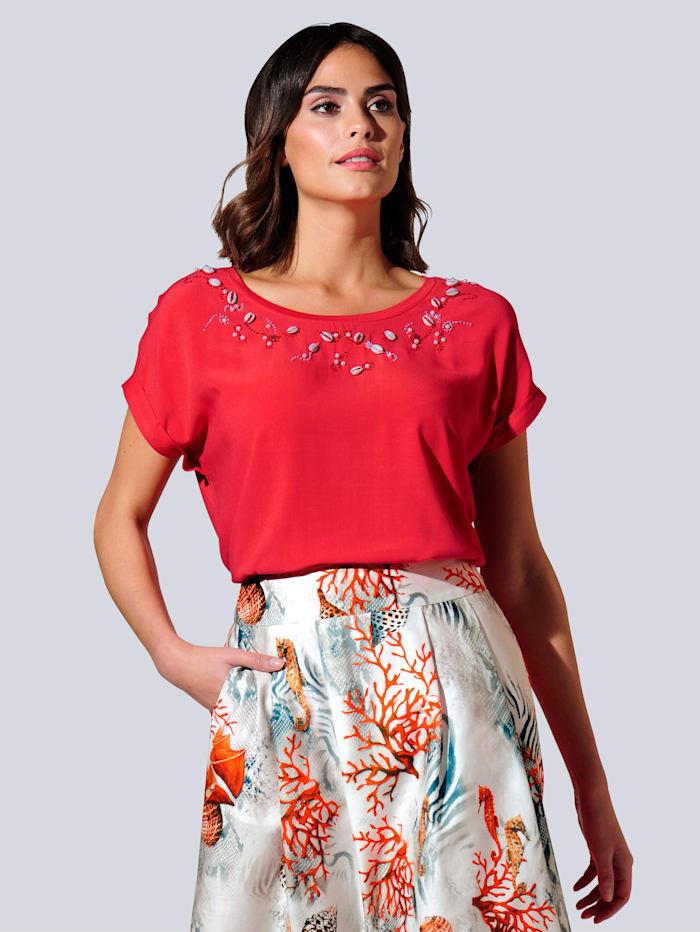 Alba Moda Shirt van een mooie materialenmix, Koraal