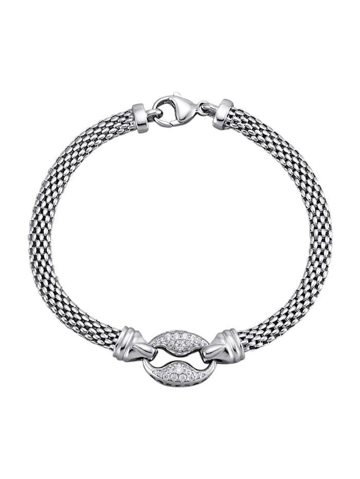 Diemer Silber Armband mit weißen synth. Zirkonia, Silberfarben