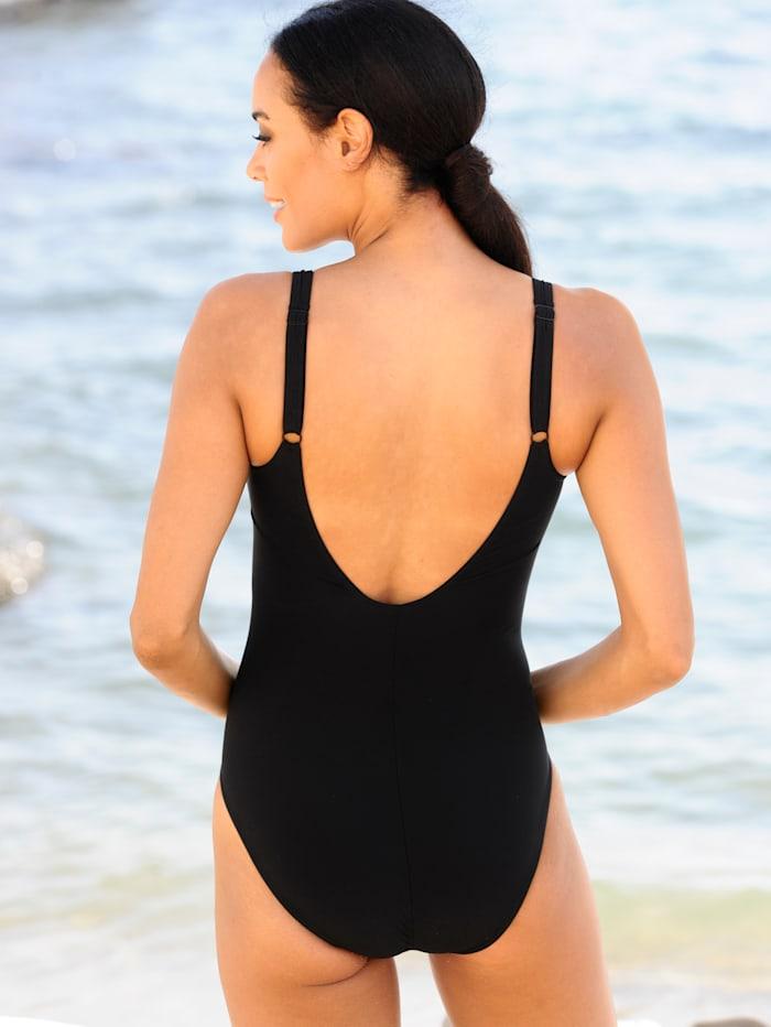 Badeanzug mit schwarzen Blenden