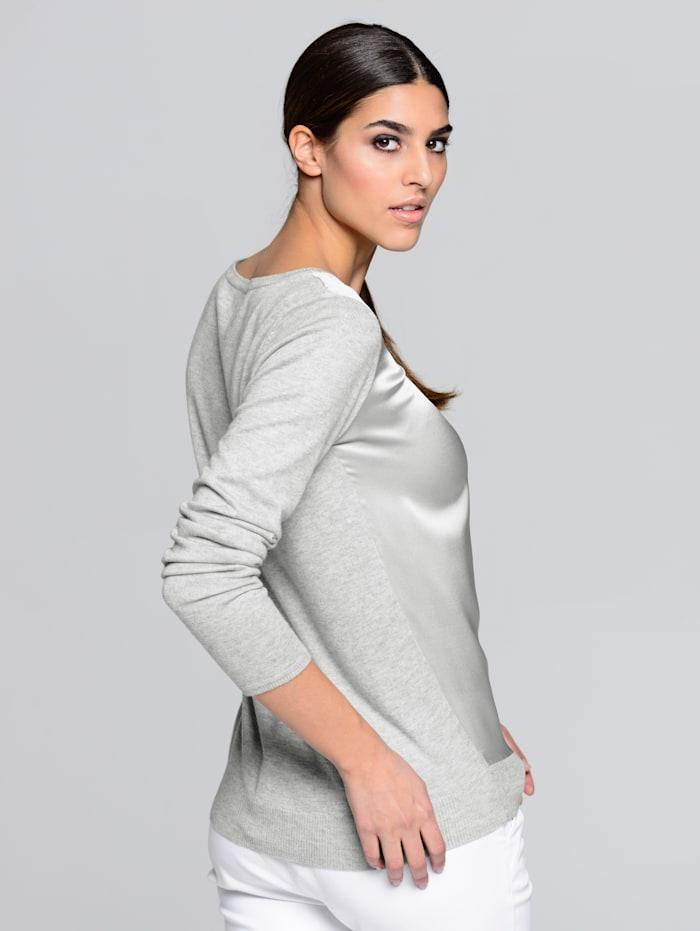 Pullover mit Einsatz aus edler Seide