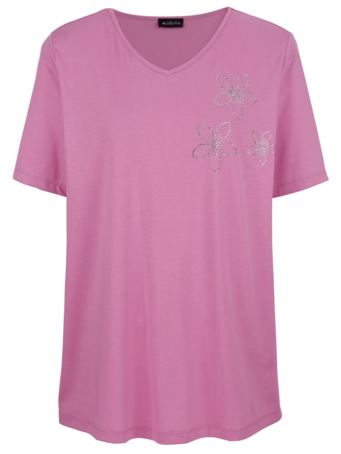 Shirt met bloemetjes van stras
