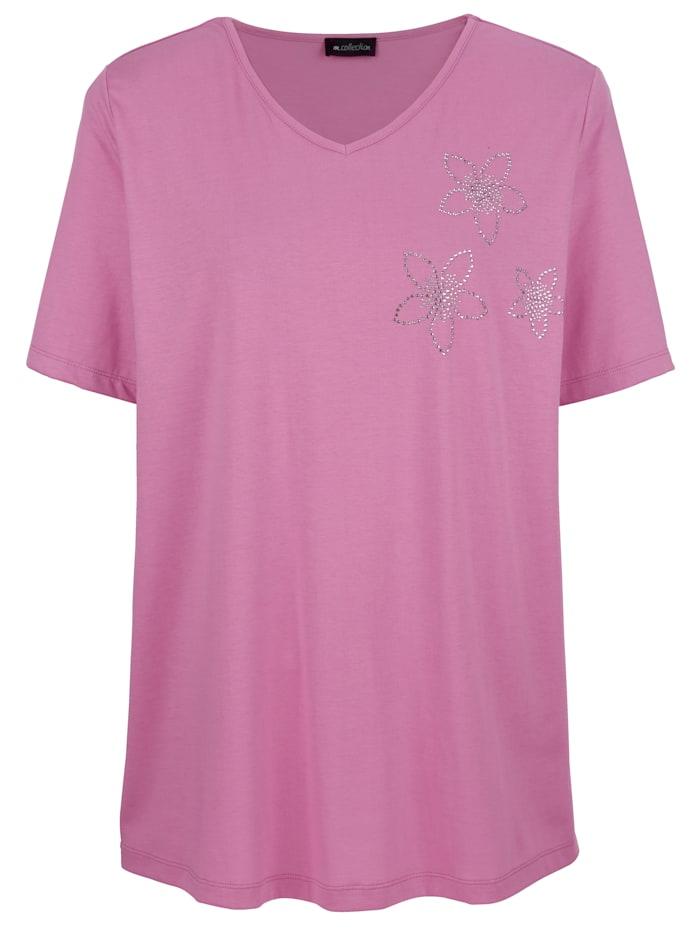 Tričko s květy ze štrasových kamínků