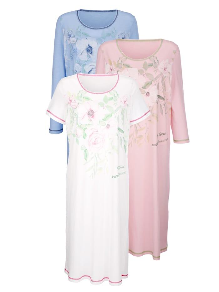 Harmony Nachthemden per 3 met 3 verschillende mouwlengtes, Wit/Roze/Lichtblauw