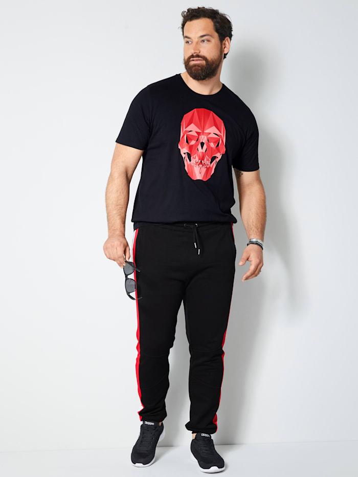 Men Plus T-Shirt aus reiner Baumwolle, Schwarz/Rot