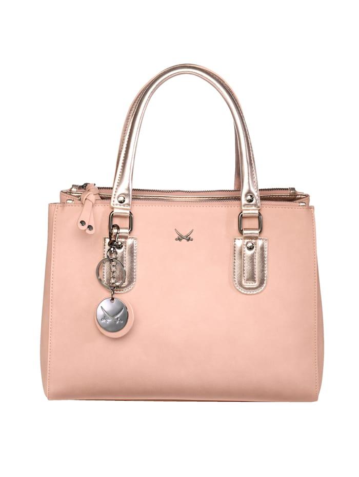 Sansibar Handtasche mit einem abnehmbaren SANSIBAR-Anhänger mit Schlüsselring, rosé