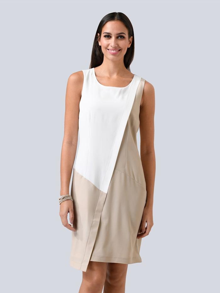 Alba Moda Kleid in wunderschöner Patch-Optik, Beige/Weiß