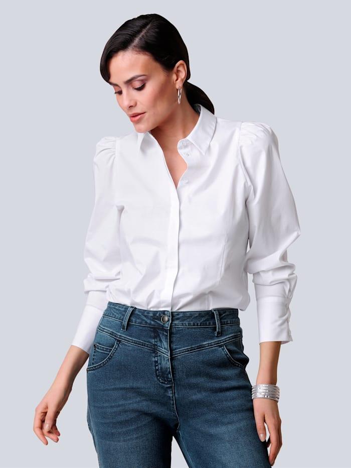 Alba Moda Bluse mit Puffärmeln, Weiß