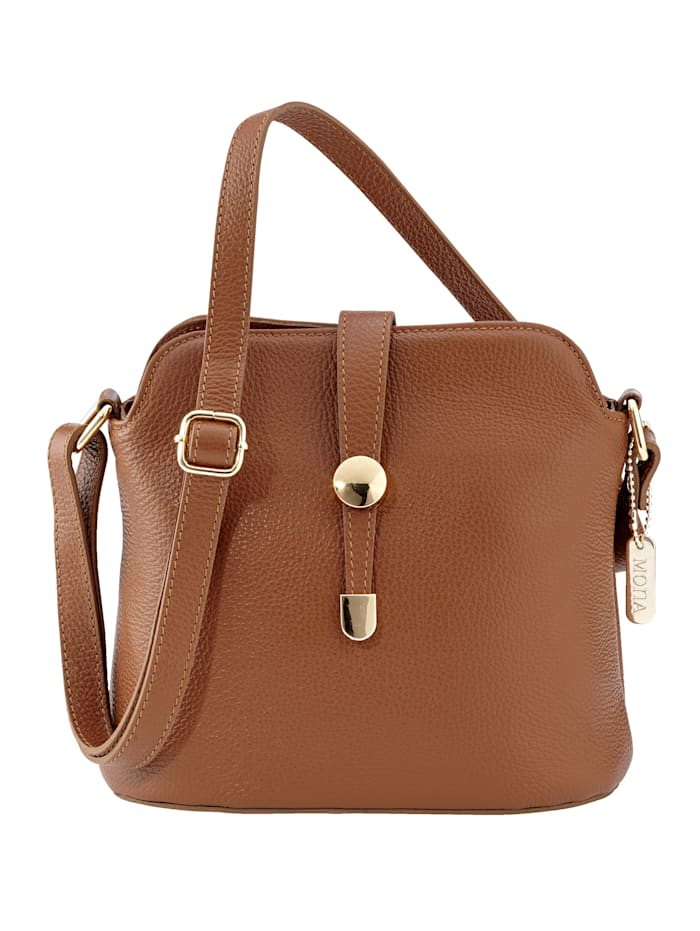 MONA Shoulder bag with elegant clasp, Cognac