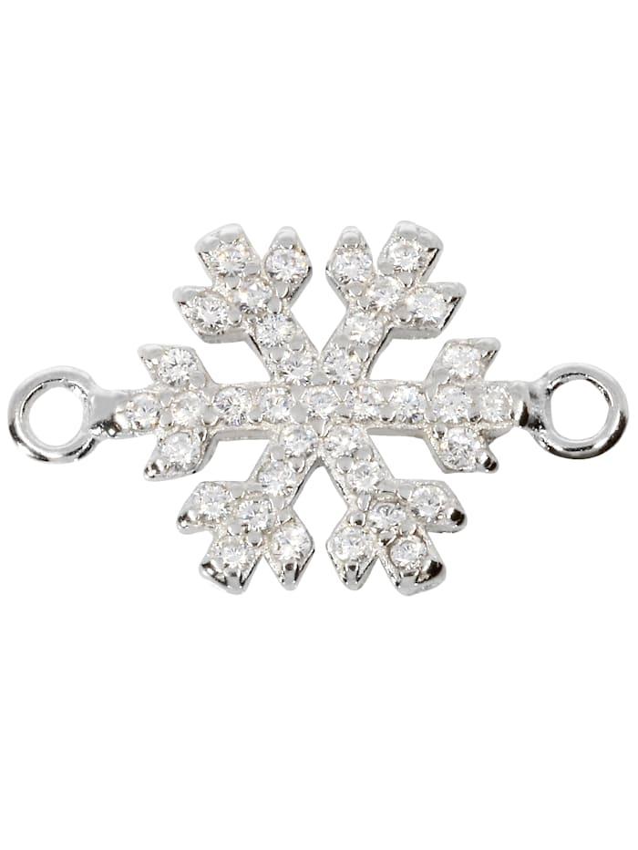 1001 Diamonds Damen Schmuck Edelstein Zirkonia Anhänger 925 Silber Schneeflocke, silber