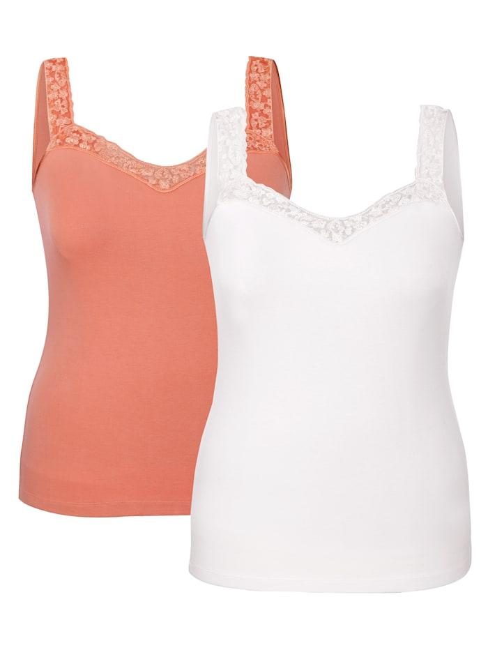 Harmony Achselhemden mit Spitze am Ausschnitt, Apricot/Weiß