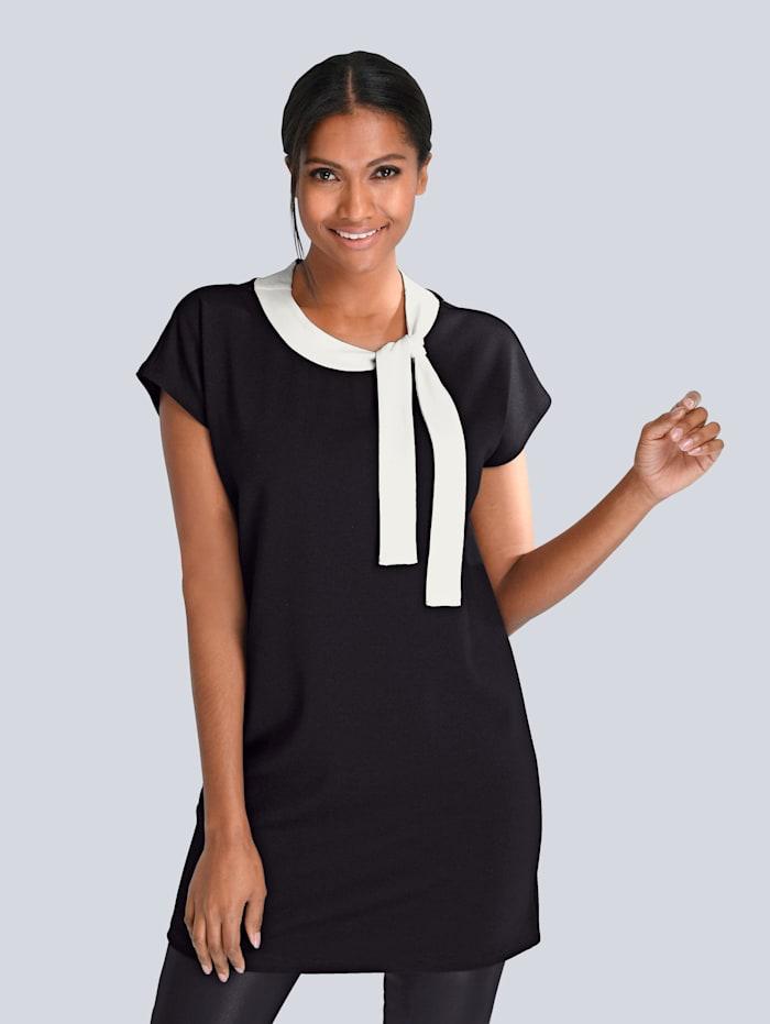 Alba Moda Longshirt mit kontrastfarbiger Schleife am Ausschnitt, Schwarz/Off-white