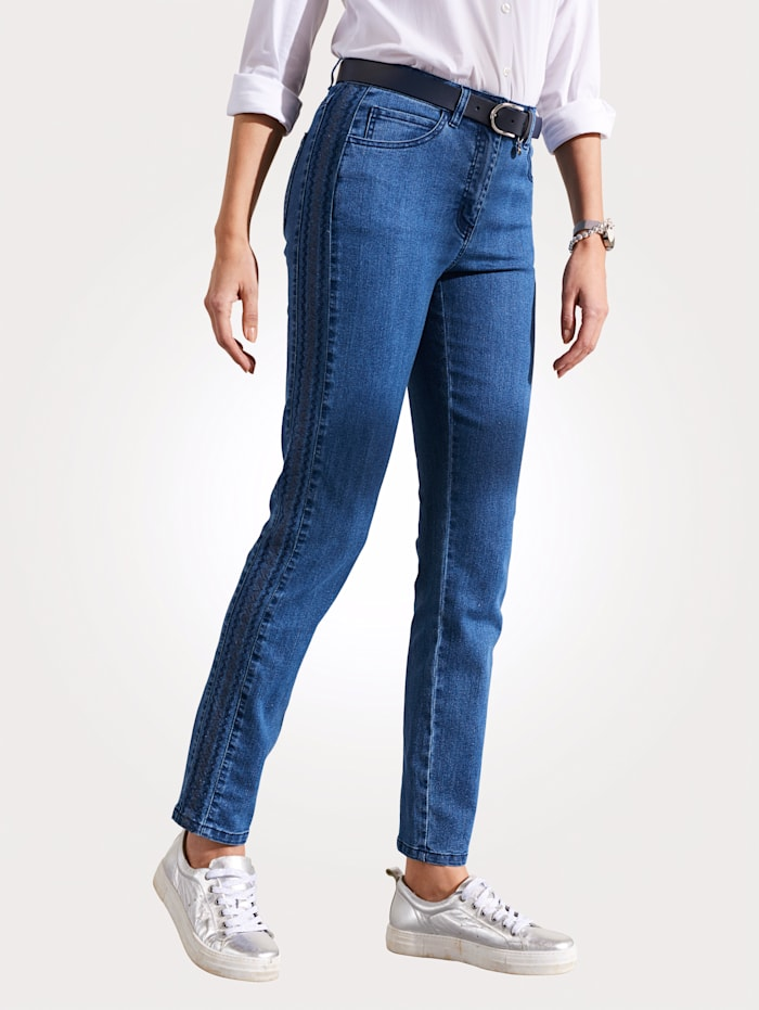 MONA Jeans mit seitlicher Steppung, Blau