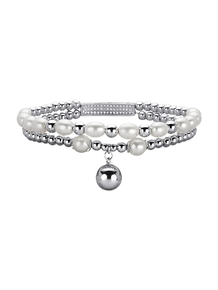 AMY VERMONT Armband met cultivé zoetwaterparel, Wit