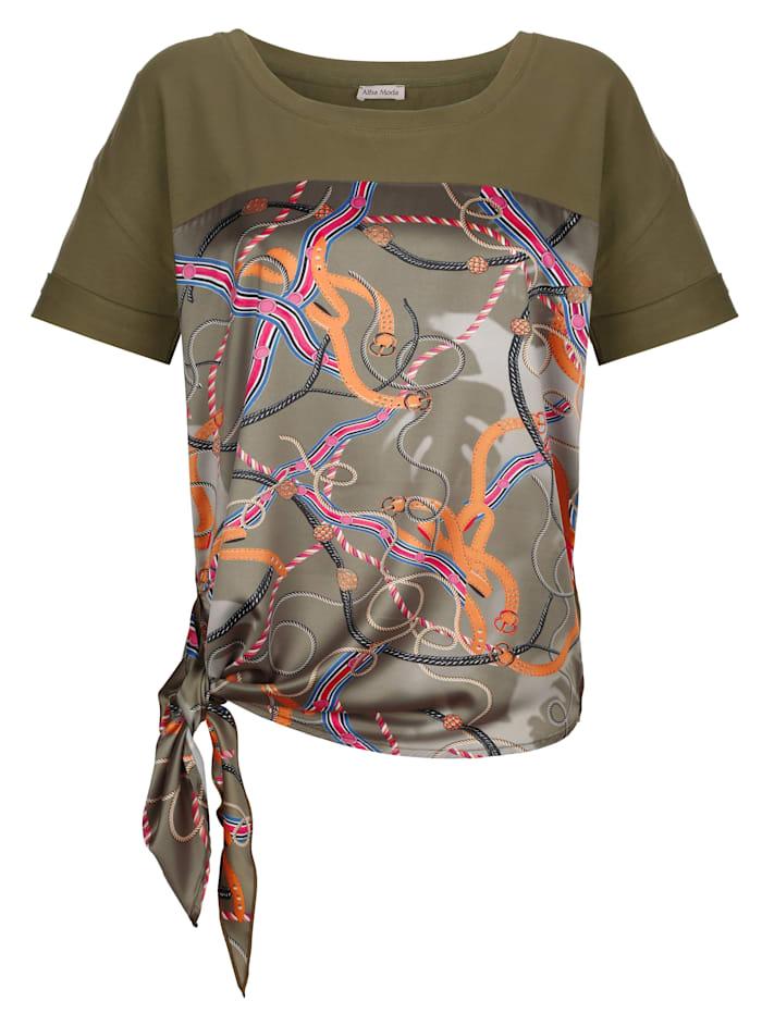Alba Moda Strandshirt van een materialenmix, kaki/multicolor