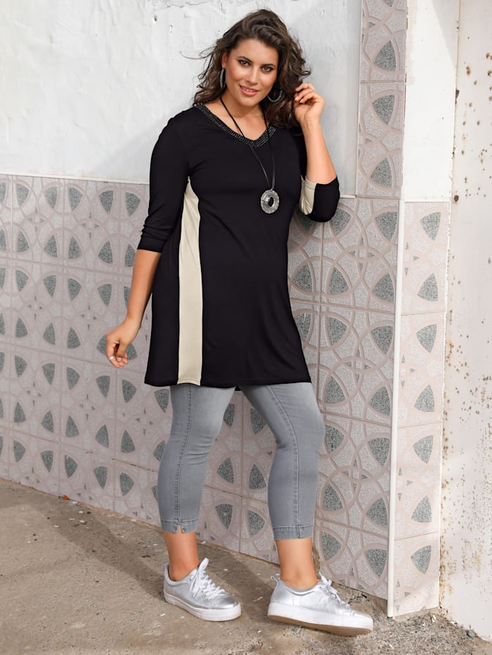 MIAMODA T-shirt long à encolure en V allongeante, Noir/Beige