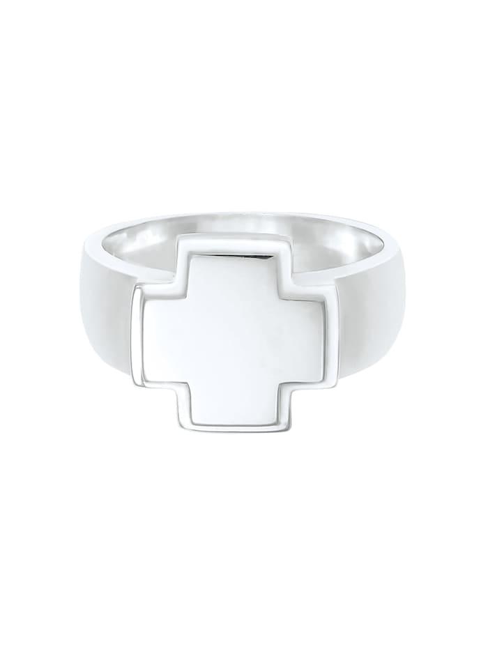 Ring Herren Siegelring Bandring Kreuz 925 Silber