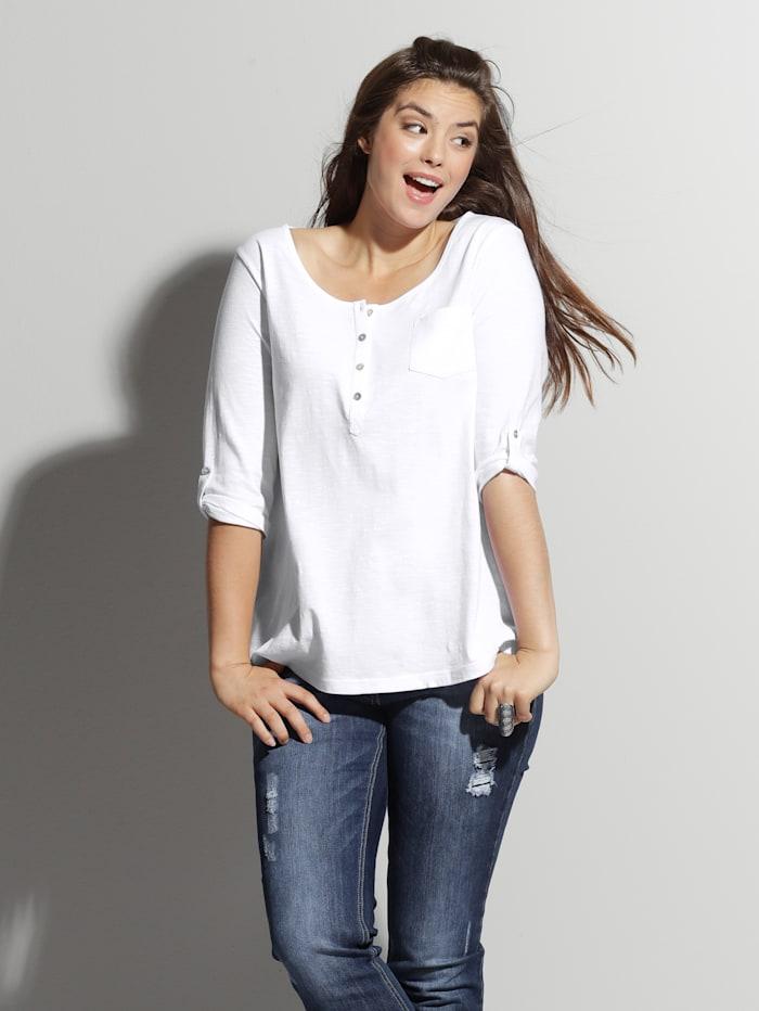 Angel of Style Shirt mit Knopfleiste, Weiß