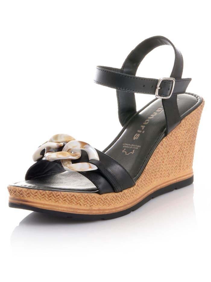 Tamaris Sandalette aus Rindsleder, Schwarz