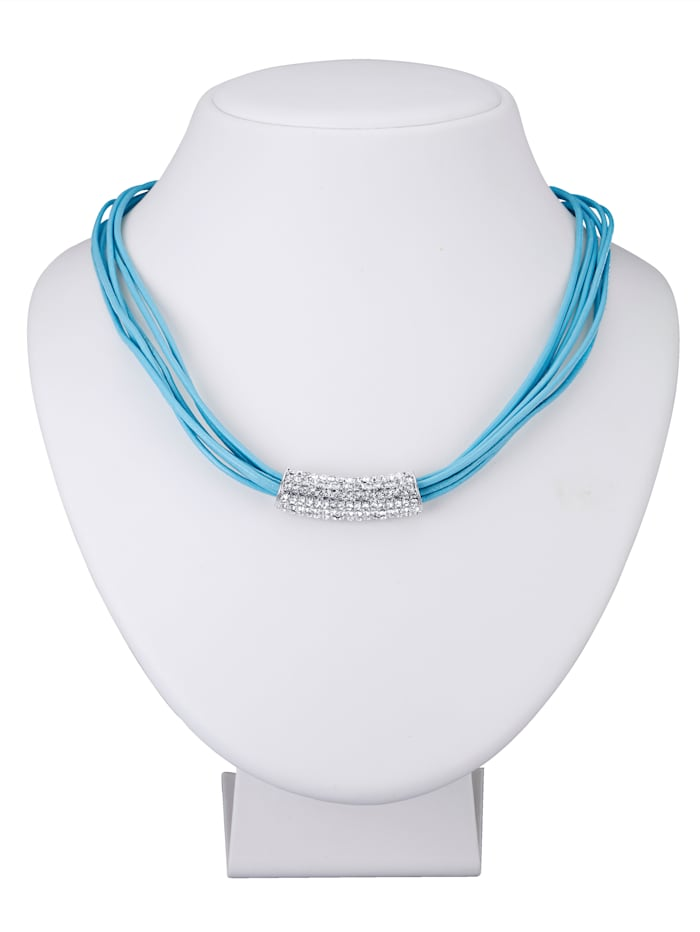 Collier avec des petites pierres de strass, Turquoise