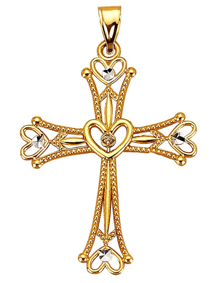 Hanger Kruis met diamant, Geelgoudkleur