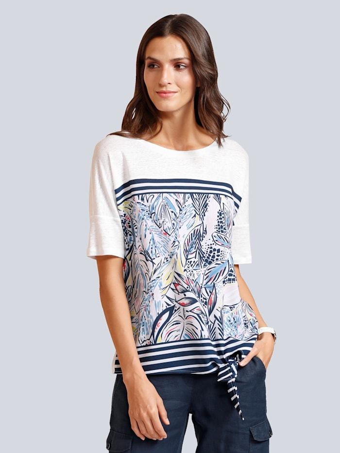BRAX Shirt mit tollem Blätterdruck im Vorderteil, Weiß