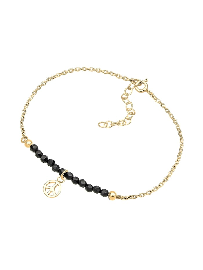 Armband Peace-Zeichen Onyx 925 Sterling Silber