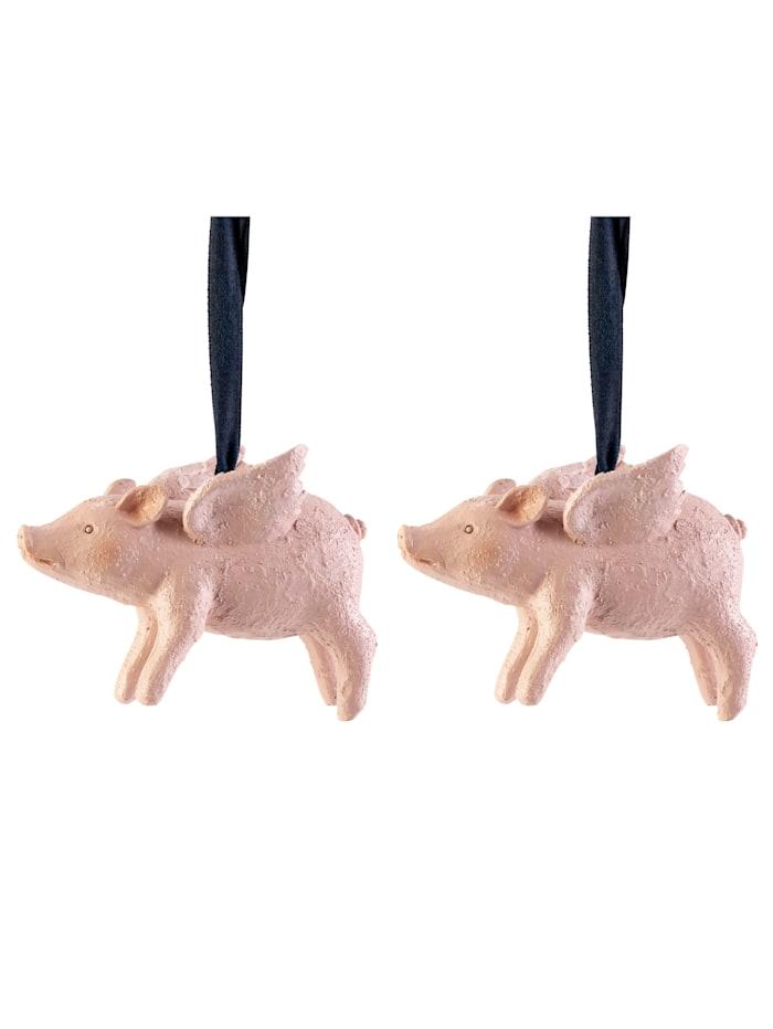 IMPRESSIONEN living Hänger-Set, 2-tlg., Schweinchen, Rosé