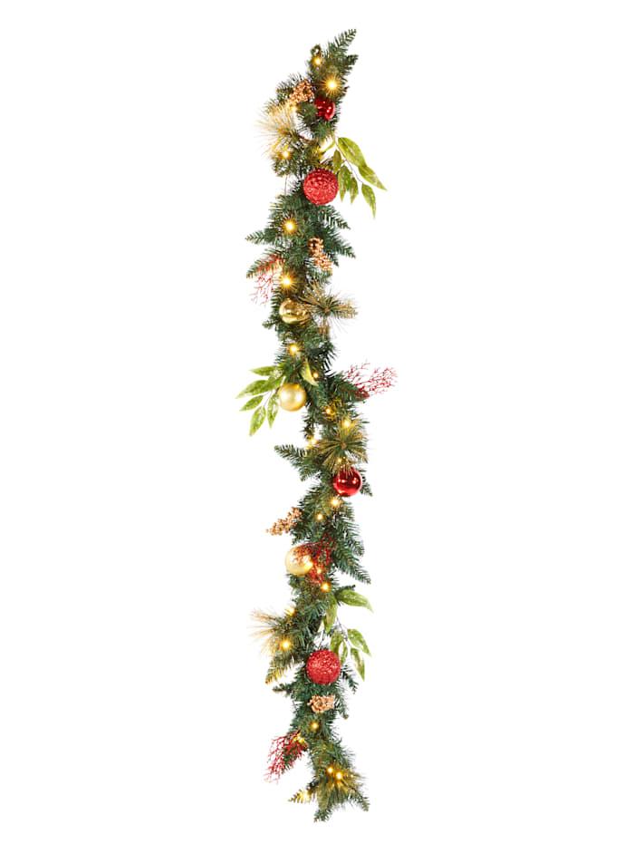 IGEA Guirlande à LED avec boules de Noël, Rouge/coloris or