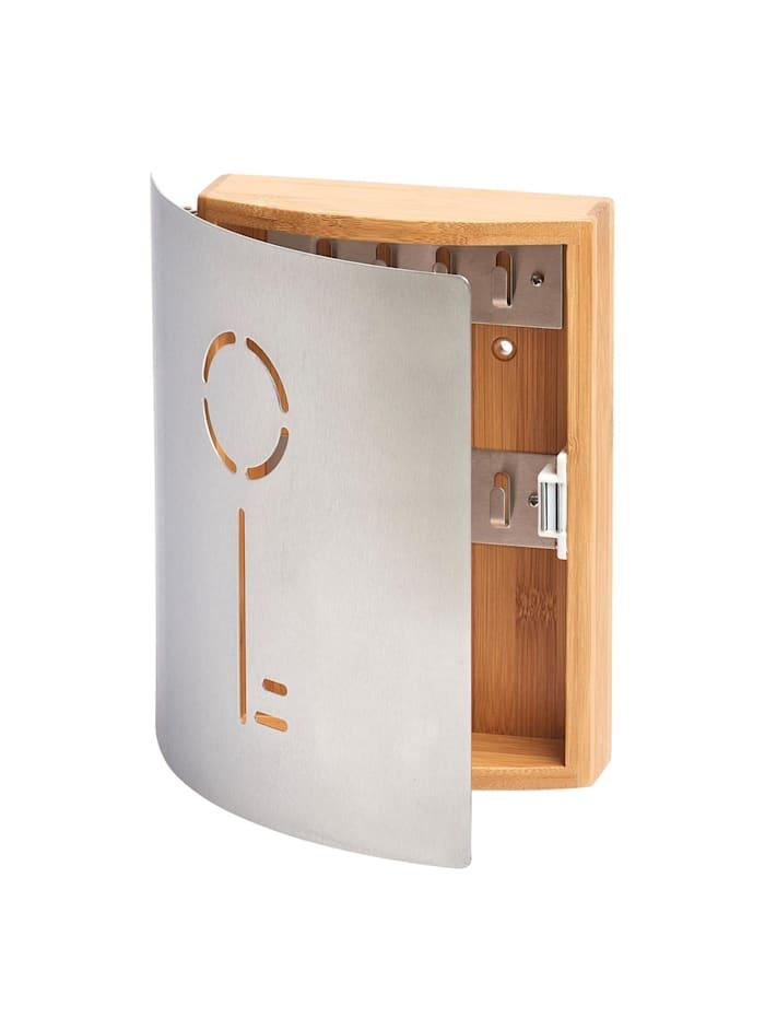 HTI-Living Schlüsselkasten Bambus/Edelstahl Schlüssel, Silber