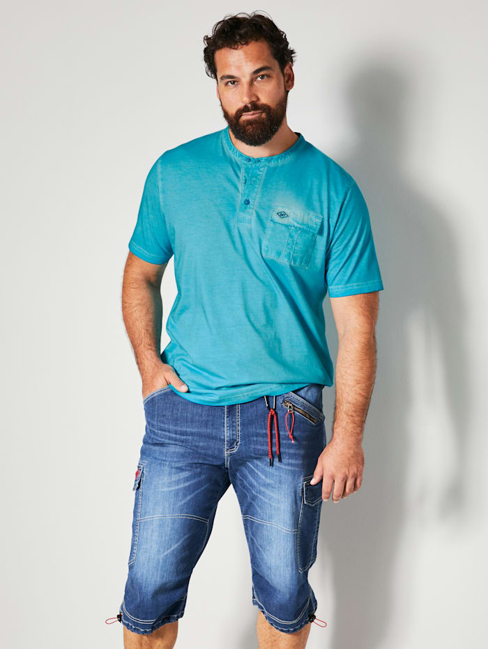 Men Plus Henleyshirt aus reiner Baumwolle, Türkis