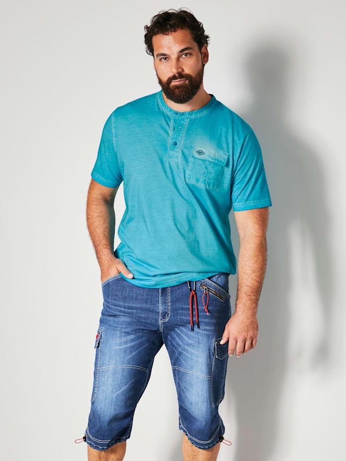 Men Plus Shirt van zuiver katoen, Turquoise