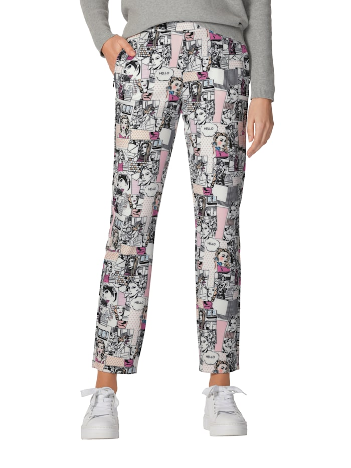 AMY VERMONT Broek met comic patroon, Multicolor