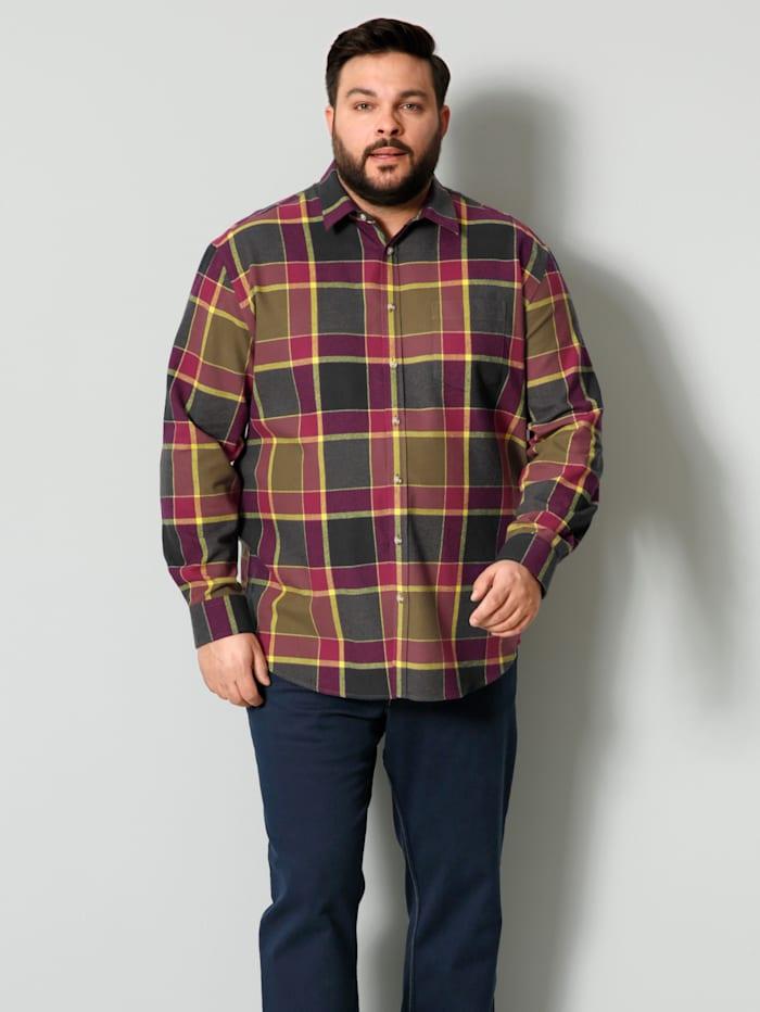 Men Plus Flanellhemd aus reiner Baumwolle, Rot/Gelb/Oliv
