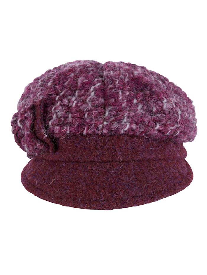 MONA Cap with bow appliqué, Berry