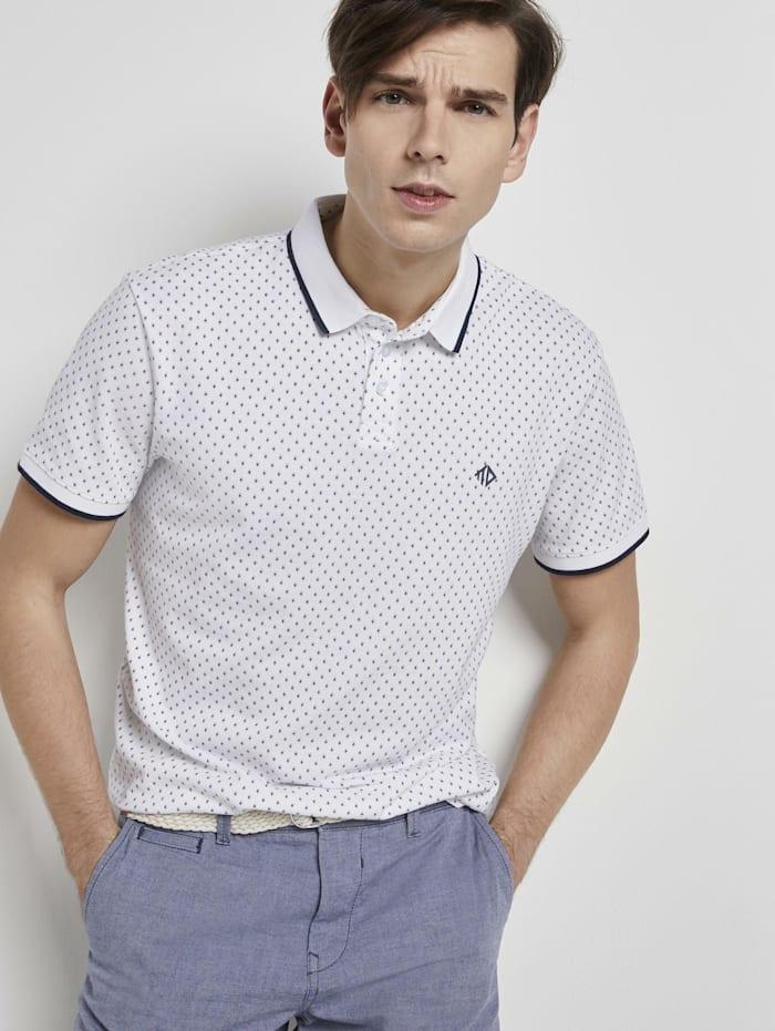 Tom Tailor Denim Poloshirt mit Alloverprint, white small diamond dot print