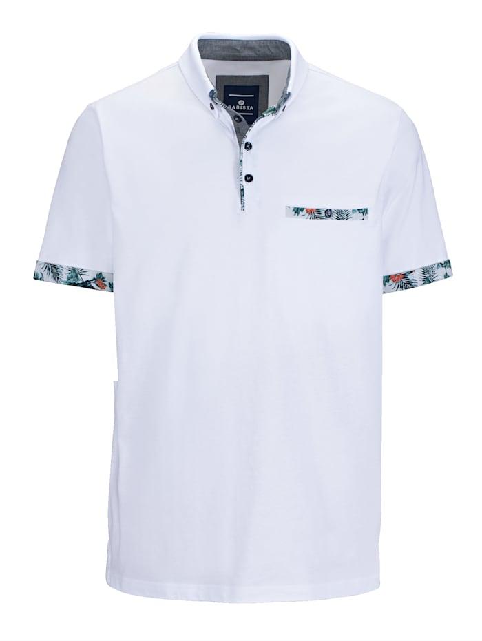 BABISTA Poloshirt mit floral bedruckten Details, Weiß