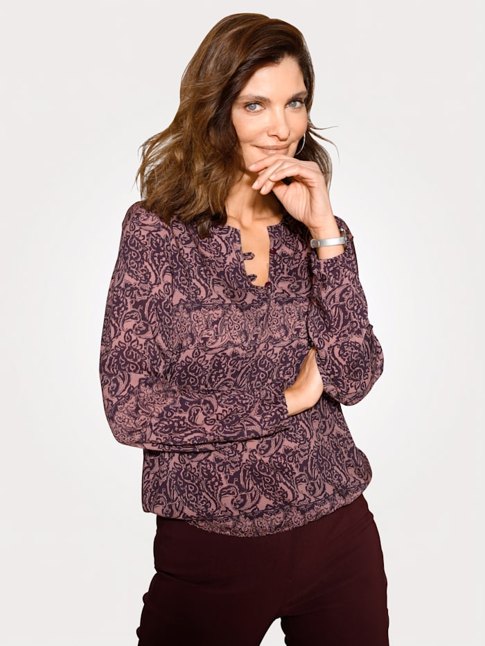 MONA Pull-on blouse with button detail, Rosé/Aubergine